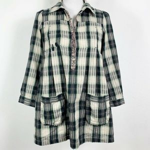 Free People 6 Blouse Plaid Green White 3/4 Sleeve